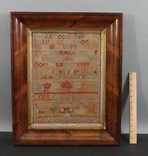 Antique 19thC Folk Art Alphabet Sampler Embroidery House Rosewood Frame NR