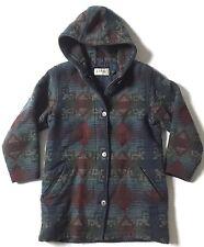 VTG LL Bean Wool Indian Blanket Duffle Coat Hooded Aztec Print Lined Womens M US