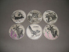 Alaskan Wild life Marble Drink Coasters -lazer etched Set of 6