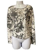 LAUREL Women's Y2K Jersey Top Monochrome Floral Embellished Casual Shirt UK 10