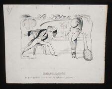 Dessin original - Lucien Métivet - Le grand Modiste - Dessin pour Le Rire