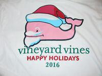 VINEYARD VINES L/S T-shirt Happy Holidays Whale Santa White M Medium