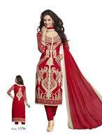 Unstitched Salwar Crepe Kameez Synthetic Designer Punjabi Suit Indian Pakistani