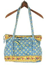 Cotton Cloth Quilted Diaper Bag / Purse Roomy Soft Blue Yellow Leaves Flowers