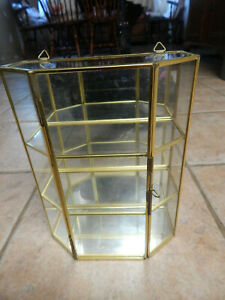 VTG MIRRORED  BRASS & GLASS CURIO WALL CABINET FOR MINIATURES