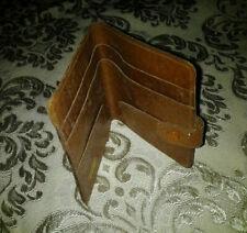 Tan Leather Slim Bifold Pocket Wallet Cash Note Card Holder