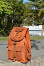"21"" Large Vintage Style Genuine Dark Brown Leather Bag Rucksack Backpack Laptop"
