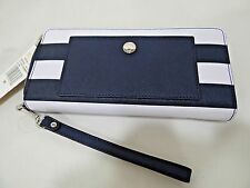 MICHAEL KORS JET SET SAFFIANO STRIPE CONTINENTAL TRAVEL WALLET WRISTLET MSRP 178