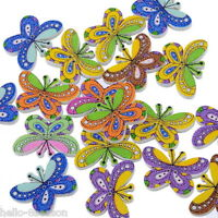 100pcs Mixed 2 Holes Butterfly Wooden Buttons Fit Sewing and Scrapbook 25x17mm