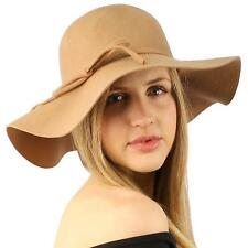 "Winter Soft Wool Felt Ribbon Bow Floppy 3-1/2"" Wide Brim Dress Church Hat Camel"