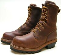 MENS RED WING 217 LOGGERMAX LOGGER BROWN LEATHER LACE UP WORK BOOTS 11.5~1/2 D