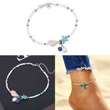 Damen Verstellbar Fußkettchen Edelstahl Boho perlen Fußkette mode Anhänger Neu