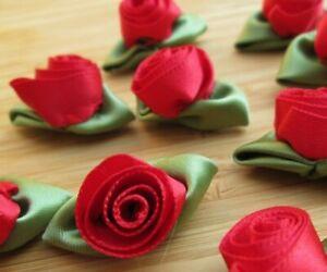 50 x Satin Ribbon Flowers Roses - Wedding Decor Sewing Craft - UK Seller