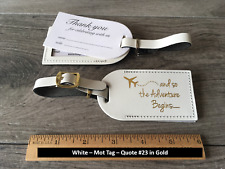 25 WHITE, STYLE (MOT),Wedding favor leather, escort luggage tags, $3.65 each