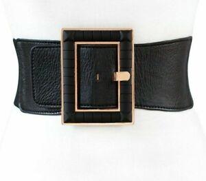 Women Fashion Black PU Wide Waist Belt Ladies Basic Simple Big Buckle Waistband