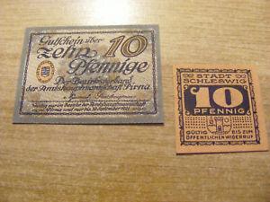 2 x 1920/21 Germany both 10 Pfennig Notgeld Banknotes, Used but stil crisp