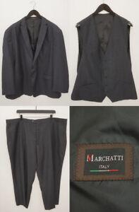 Men Marchatti Suit Blazer Vest Trousers Charcoal Grey Wool EU58R UK/US48R QEA47