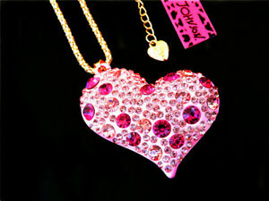 Betsey Johnson Bling Crystal Pink Love Heart Pendant Coat Necklace Gift