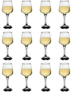 White Wine Glasses. Contemporary Drinking Glass Set. (Pack of 12) (295 cc/ml)