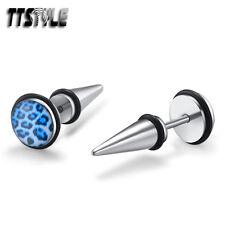TTstyle 8mm Blue Leopard Surgical Steel Fake Ear Spike Earrings A Pair NEW