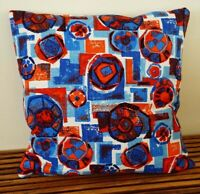 "4 PILLOW COVERS 20"" Square Envelope Style Vintage Barkcloth Fabric Red Blue"