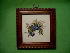 Vintage wood framed hand-painted tile w/ colorful BLUEBERRIES & blossoms. Signed