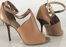 BURBERRY CONSETT HOUSE CHECK PRINT LEATHER PEEP TOE ANKLE STRAP BOOTIE 8.5/39
