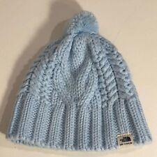 **North Face Beanie Infant XXS 0-6 Mos Infant Minna Cable Knit Pompom Pale Blue