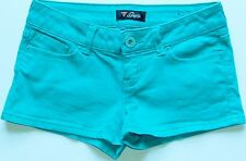 Guess Mermaid Green Denim Logo Button Front Short Shorts Sz 12 NWOT
