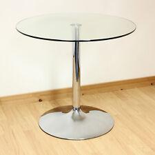 Vida Living 90cm Chrome Round Dark Glass Dining/kitchen Table Bistro/cafe Style