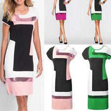 Neu Damen Knielang Büro Kleid Stretchkleid Etuikleid Partykleid Abendkleid S-XL