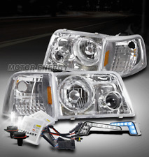 93-97 FORD RANGER CHROME HEAD LIGHT+PROJECTOR FOG LAMP W/BLUE DRL LED+6K HID KIT