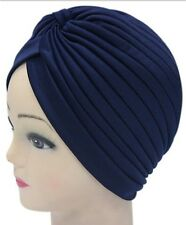 Navy Blue-Women's Indian Stretchable Turban Hat Hair Head Wrap Cap Headwrap New