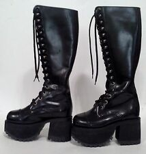 Muro Black Leather Gothic Lolita / Cyberpunk / 90's Punk Boots - Size 5.5