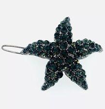 USA Hair Clip Pin use Swarovski Crystal Hairpin Starfish Mermaid Black Elegant