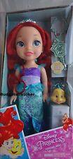 2016 Disney Ariel Little Mermaid Toddler Doll Hair Brush Tiara Necklace Flounder