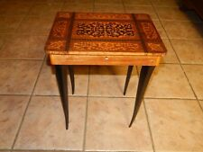 Vtg Italian Inlaid Marquetry Wood Musical Table Jewelry Case, Box, Plays