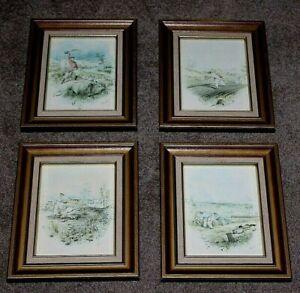 Framed 4 Vintage Prints Colonial Australian Life Seasons Gill