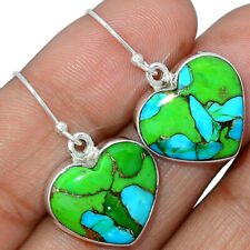 Heart - Blue Turquoise In Green Mohave 925 Silver Earring Jewelry AE163842