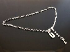 2.5mm 925 Sterling Silver Anklet Ankle Belcher Chain Lock And Key Charm 9.5""