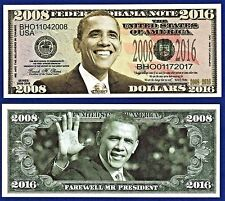 1-Barack Obama 2008-2016 Commemorative  Dollar Bill W/ clear protector sleeve