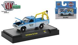 1:64 M2 Machines *AUTO-TRUCKS 61* BLUE & WHITE 1978 Datsun Tow Truck NIB