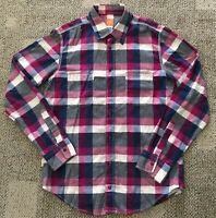 Hugo Boss Mens Long Sleeve Button Down Shirt Pink/Blue Plaid Size Medium