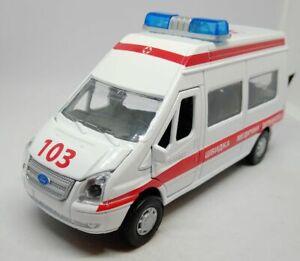 Technopark Ukraine Ford Transit Ambulance 1:43 Scale Diecast NEW. Opening door