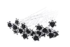 Accessoires cheveux 1 lot de 10 épingles à chignon fleurs à strass - noir