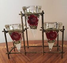 Three Hand Painted Roses Glass Candle Holders In Metal Stand