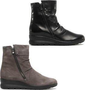 Mephisto PHILA Womens Ladies Leather Zip Up Wedge Heel Ankle Boots Black/Grey