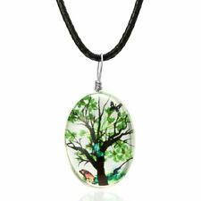 Natural Dried Tree Green Flower Glass Pendant Necklace Chain Women Charm Jewelry