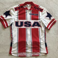 Vtg Pearl Izumi Team USA Race Cycling Jersey size Large Red White Blue