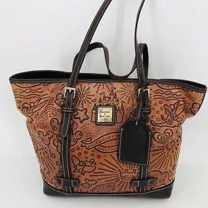 Walt Disney Dooney & Bourke Brown Leather Sketch Shopper Tote Purse Tinkerbell
